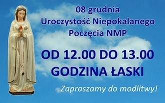 """Nabożeństwo """"Godzina Łaski"""" w niedzielę 8 grudnia od 12.00 do 13.00"""